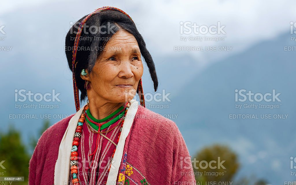 Woman of the Monpa tribe, Tawang, Arunachal Pradesh, India. stock photo