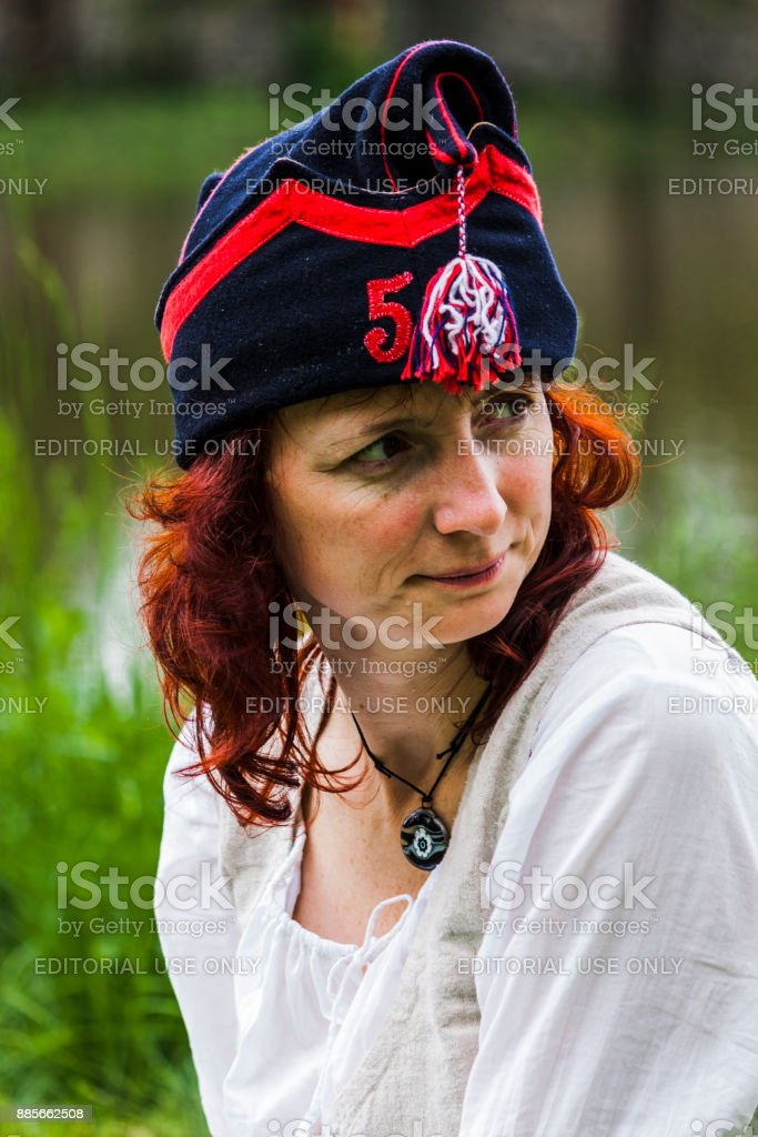 Woman of the napoleonic period with worried facial expression stock photo