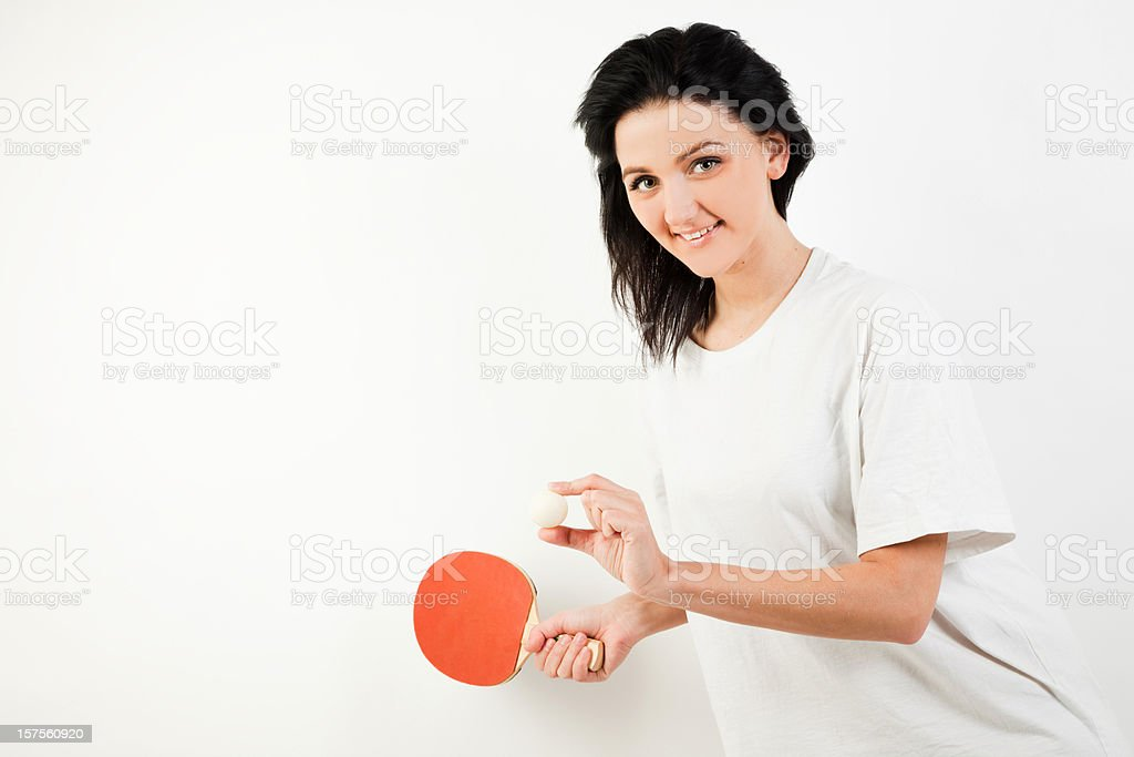 Woman offer to play table tennis royalty-free stock photo