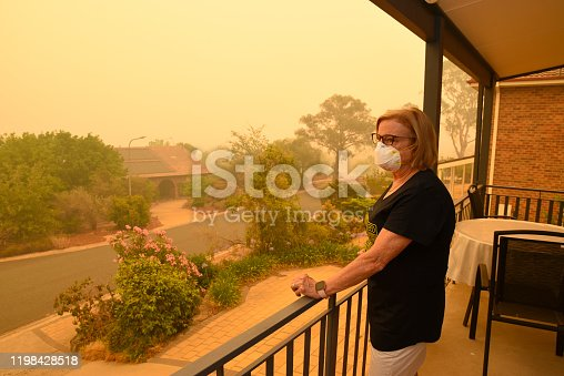Canberra, Australia, 5/01/2020, Smoke coming from nearby forest fires creates high pollution and covers Canberra with a thick fog. People need to wear mask to breathe.