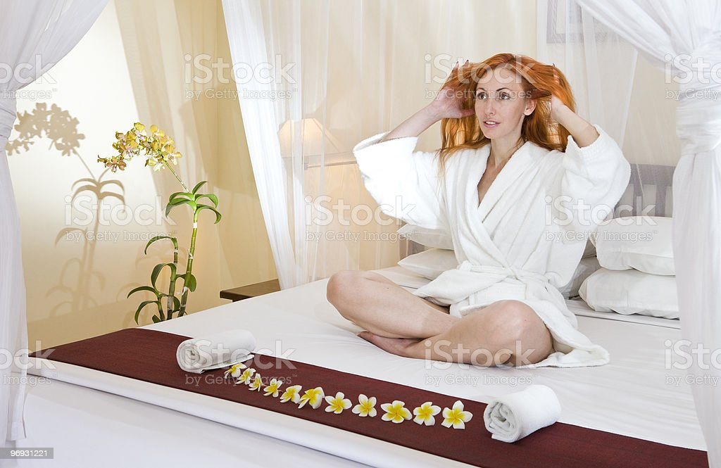 woman  on a bed royalty-free stock photo