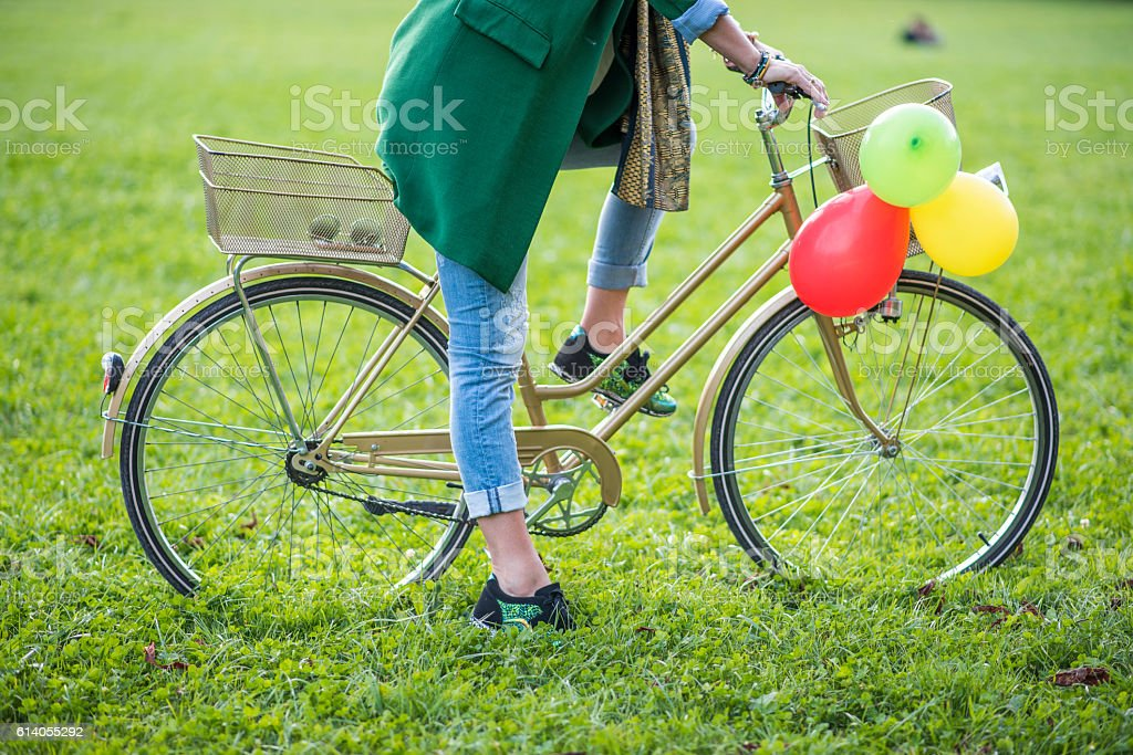 Woman on a bicycle stock photo
