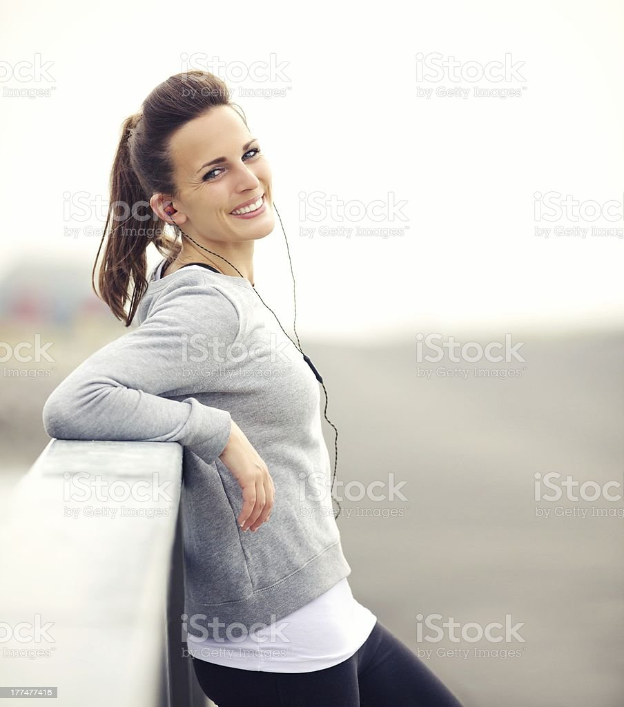 Woman on a Break After Running royalty-free stock photo