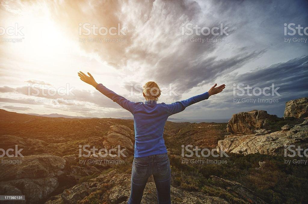 Woman on a Cap de Creus royalty-free stock photo