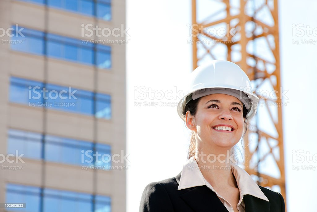 Woman on a construction site royalty-free stock photo