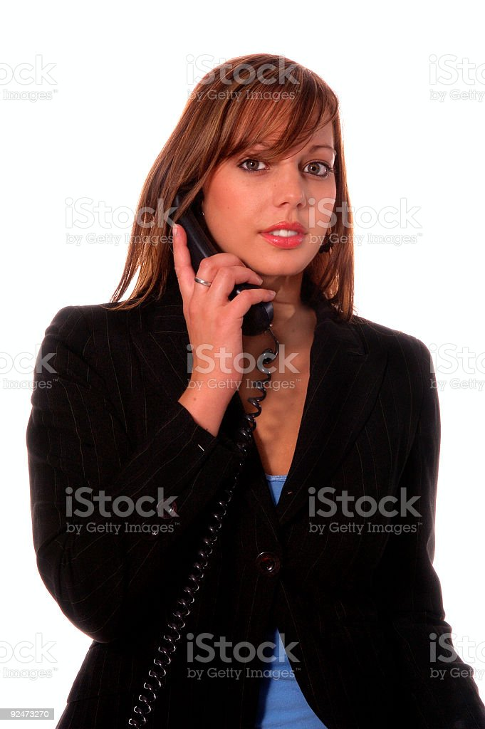 Woman on a Corded Phone royalty-free stock photo