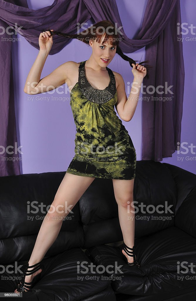 woman on a couch or sofa royalty-free stock photo