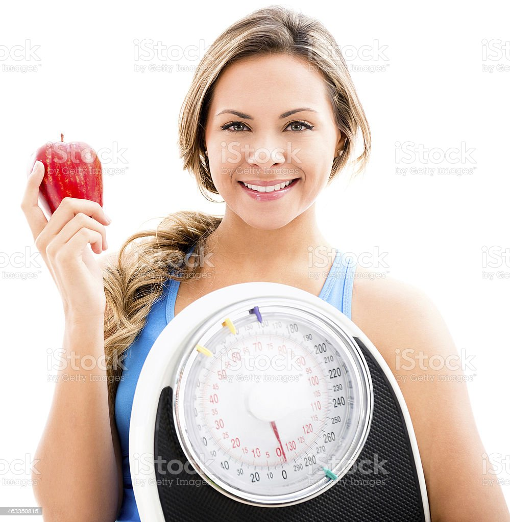 Woman on a diet to lose weight royalty-free stock photo