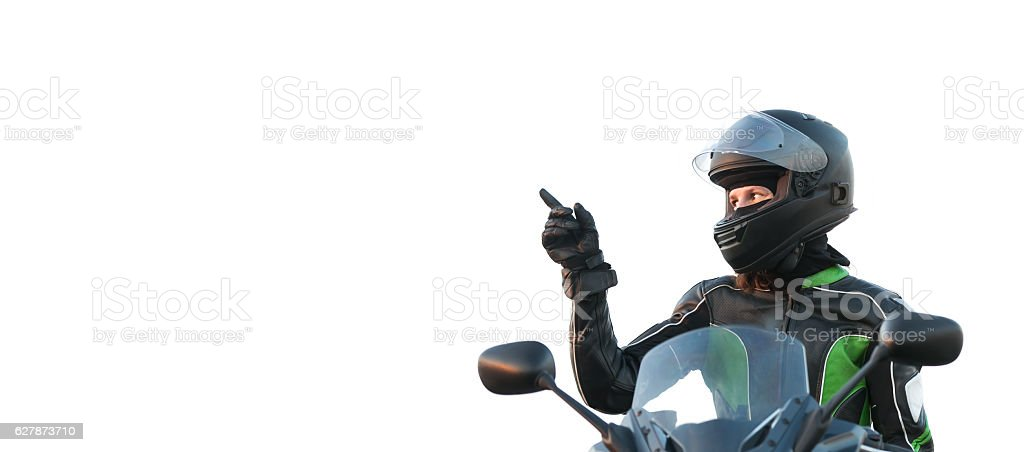 Woman  on a motorcycle stock photo