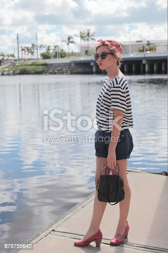 Woman on a pier.