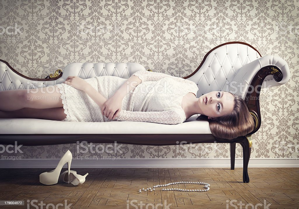Woman On A Sofa Stock Photo More Pictures Of 18 19 Years Istock