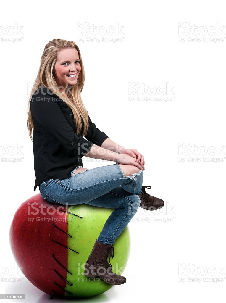 Woman on a Stitched Apple stock photo