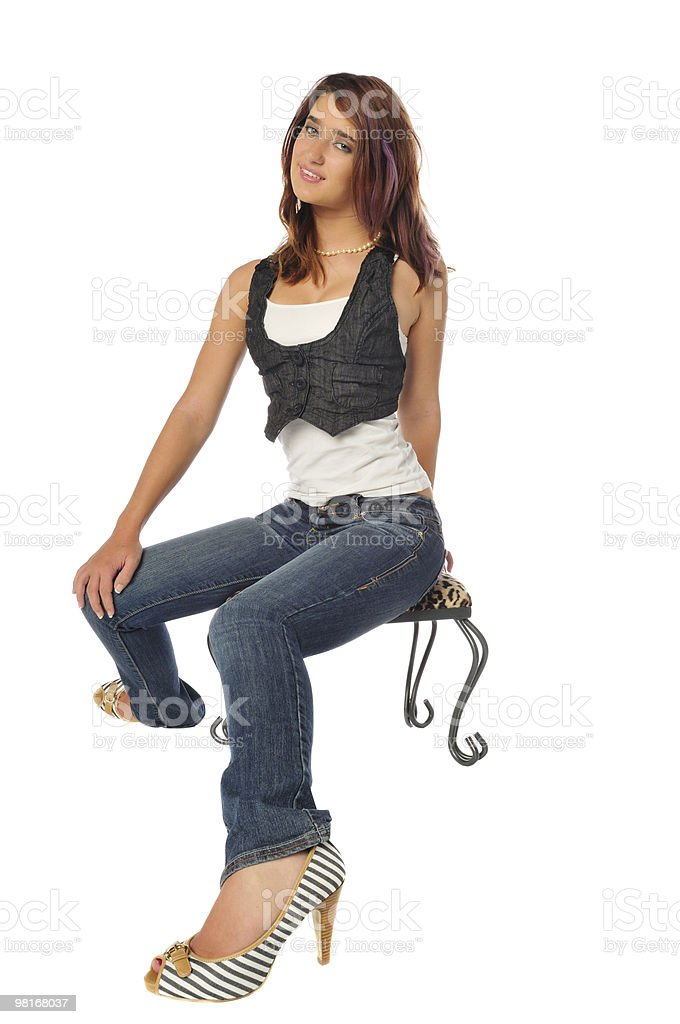 woman on a stool  royalty-free stock photo