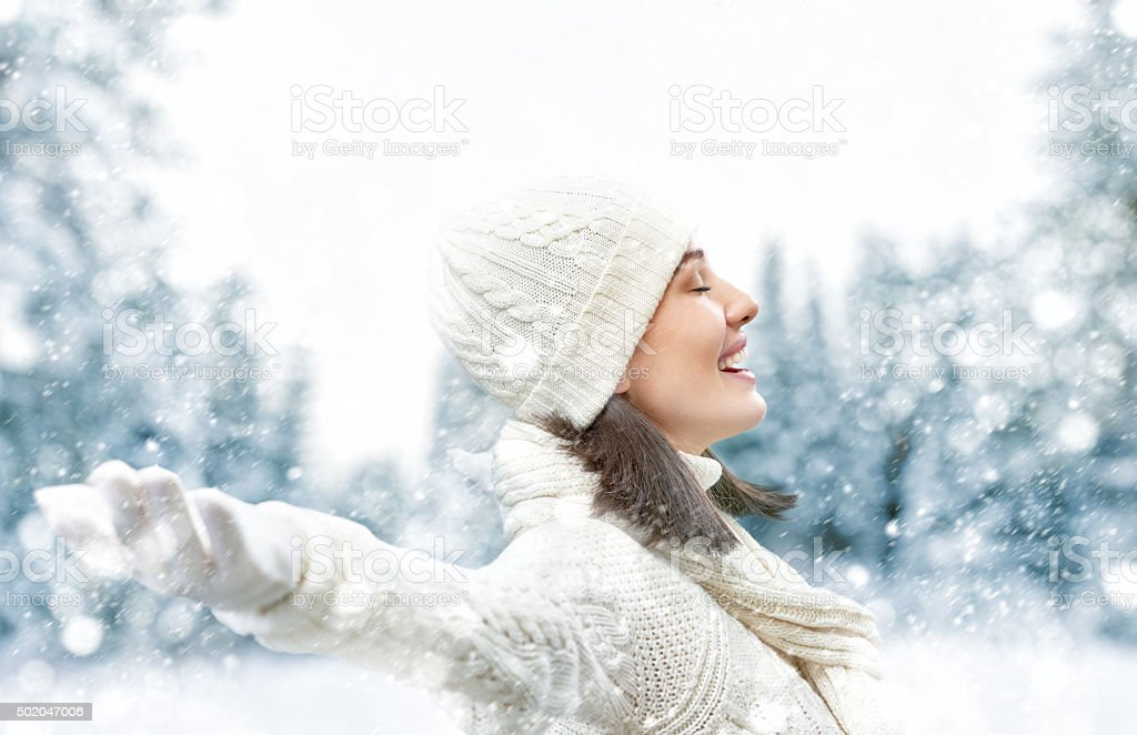 woman on a winter walk stock photo