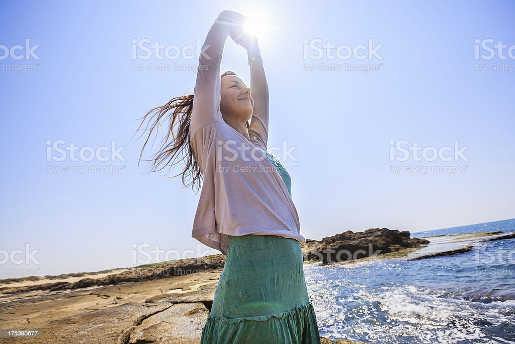 Woman on beach royalty-free stock photo