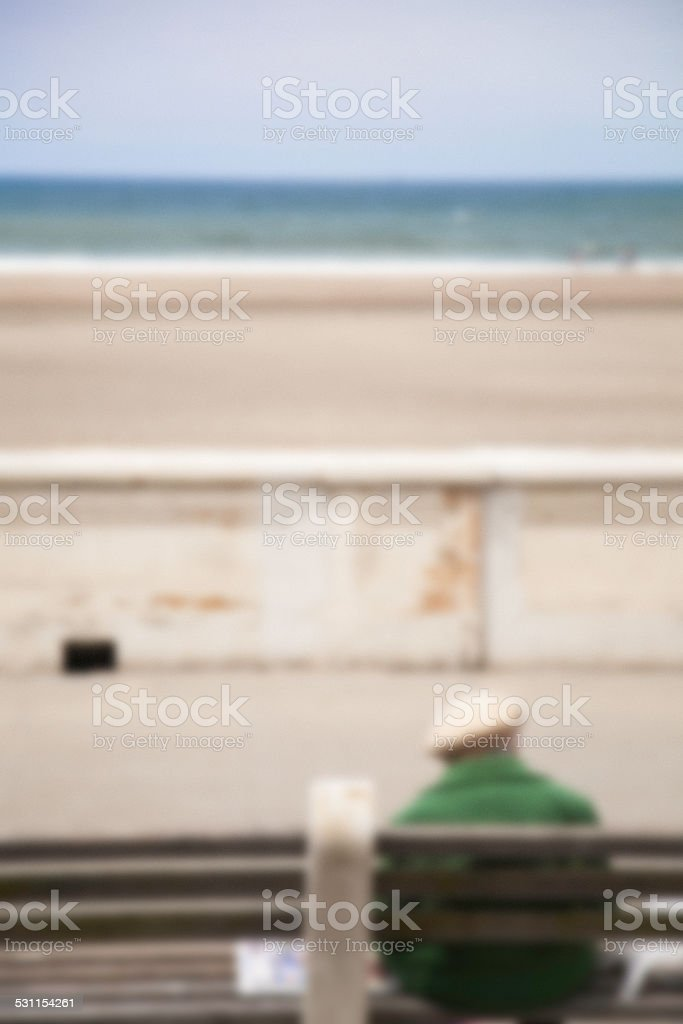 Woman on Bench stock photo