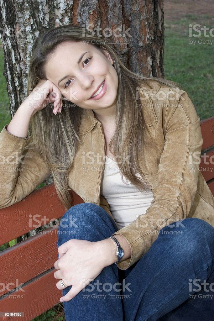 Woman on Bench royalty-free stock photo