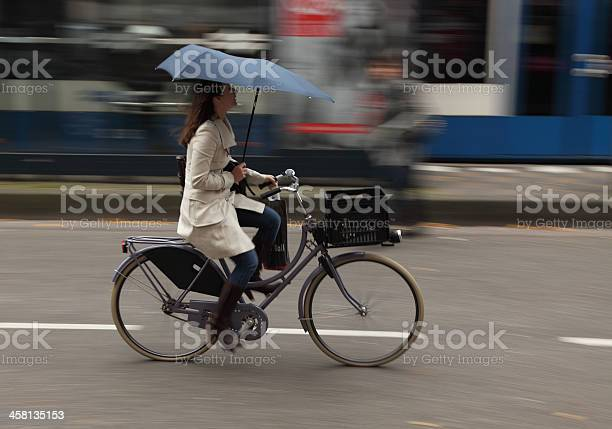 Woman On Bicycle Stock Photo - Download Image Now