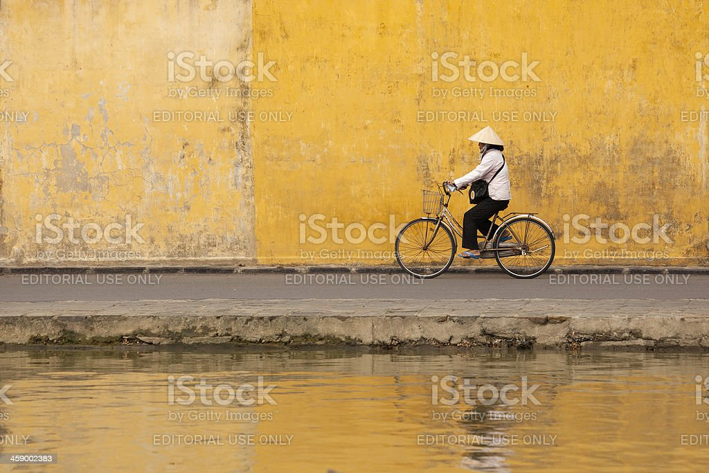 Woman on bicycle stock photo