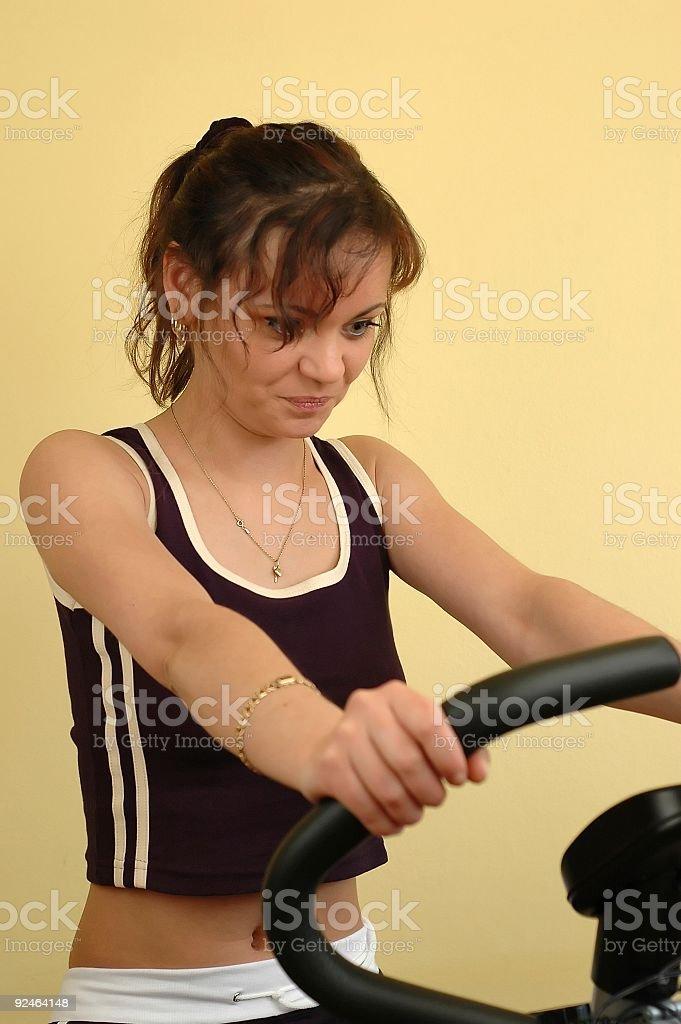 Woman on bike royalty-free stock photo