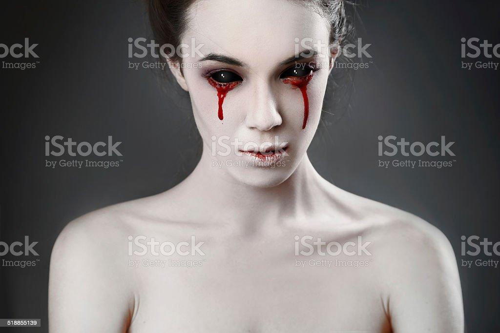 woman on black stock photo