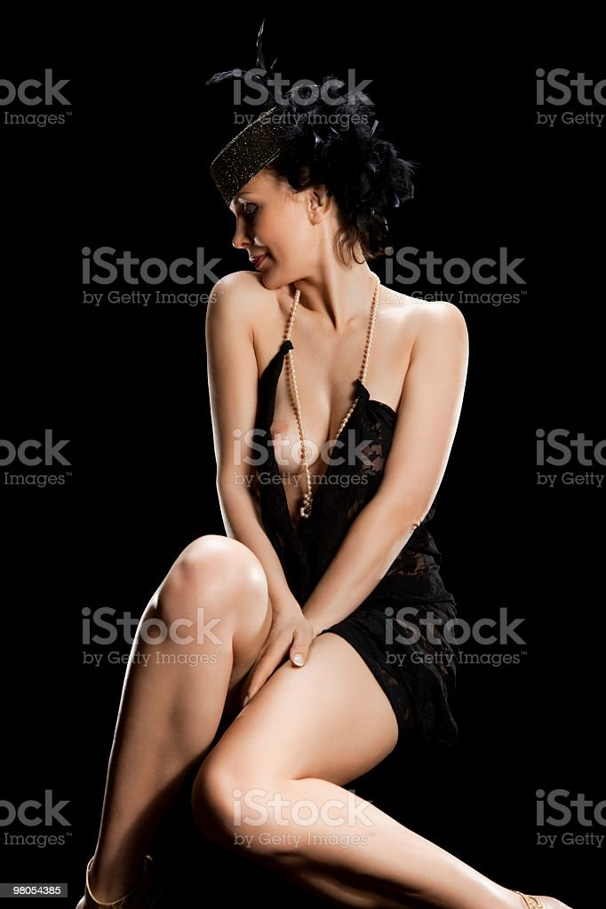 woman on black royalty-free stock photo