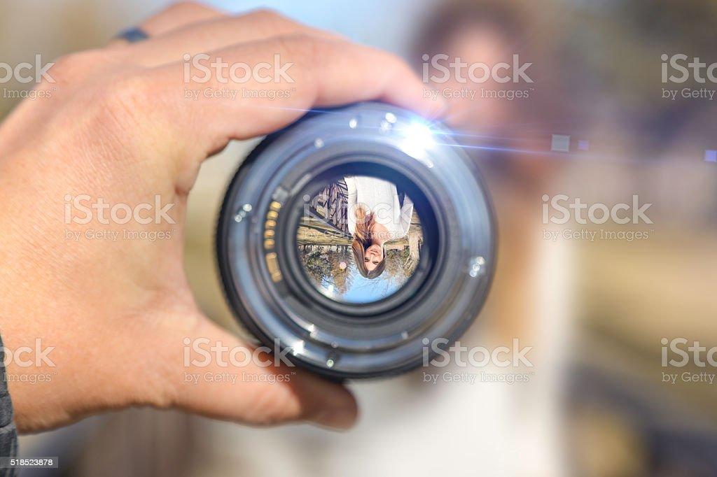 Photographer holding up lens showing woman on bridge