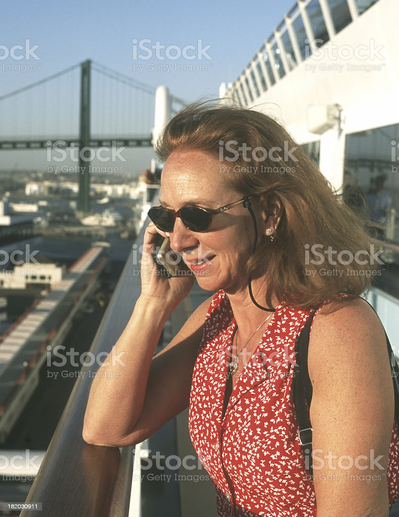 Woman on cell phone. stock photo
