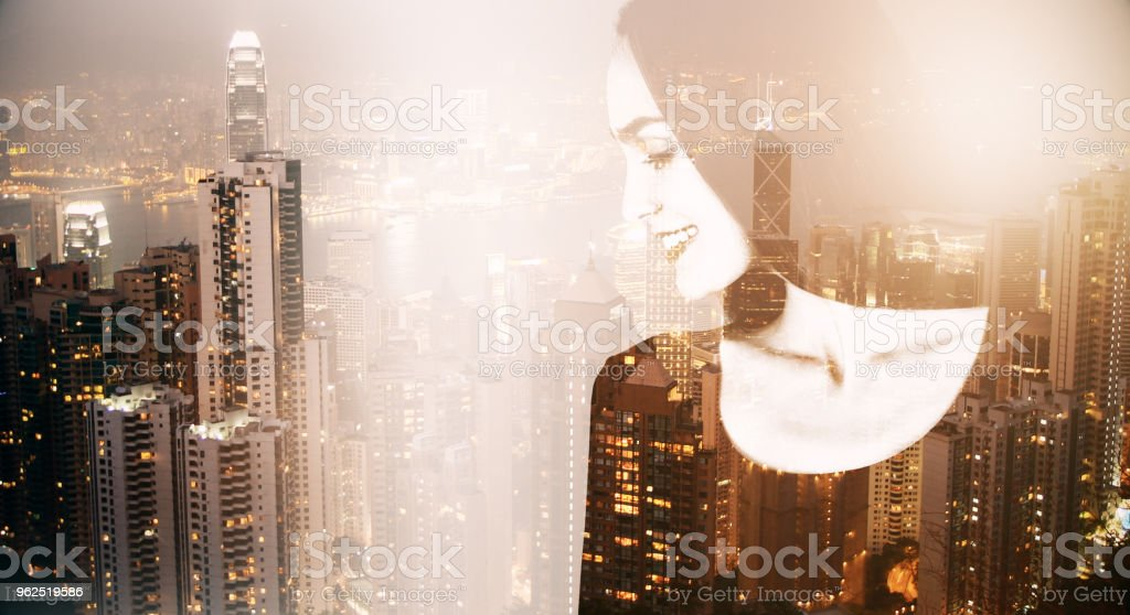 Woman on city background - Royalty-free Adult Stock Photo
