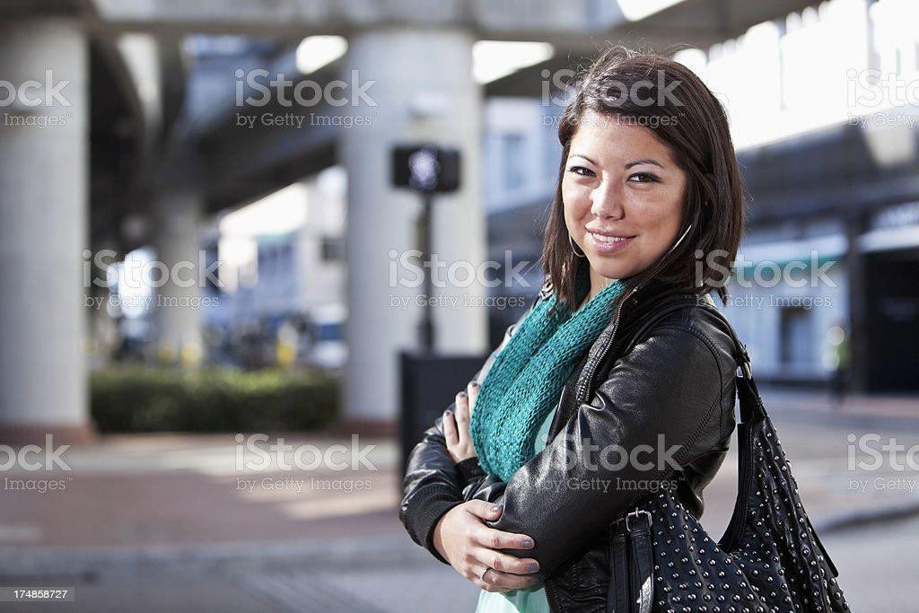 Woman on city street royalty-free stock photo
