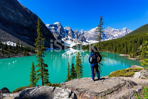 Woman on cliff admiring Moraine Lake and mountains scenic view, Rocky Mountains, Banff National Park, Alberta, Canada