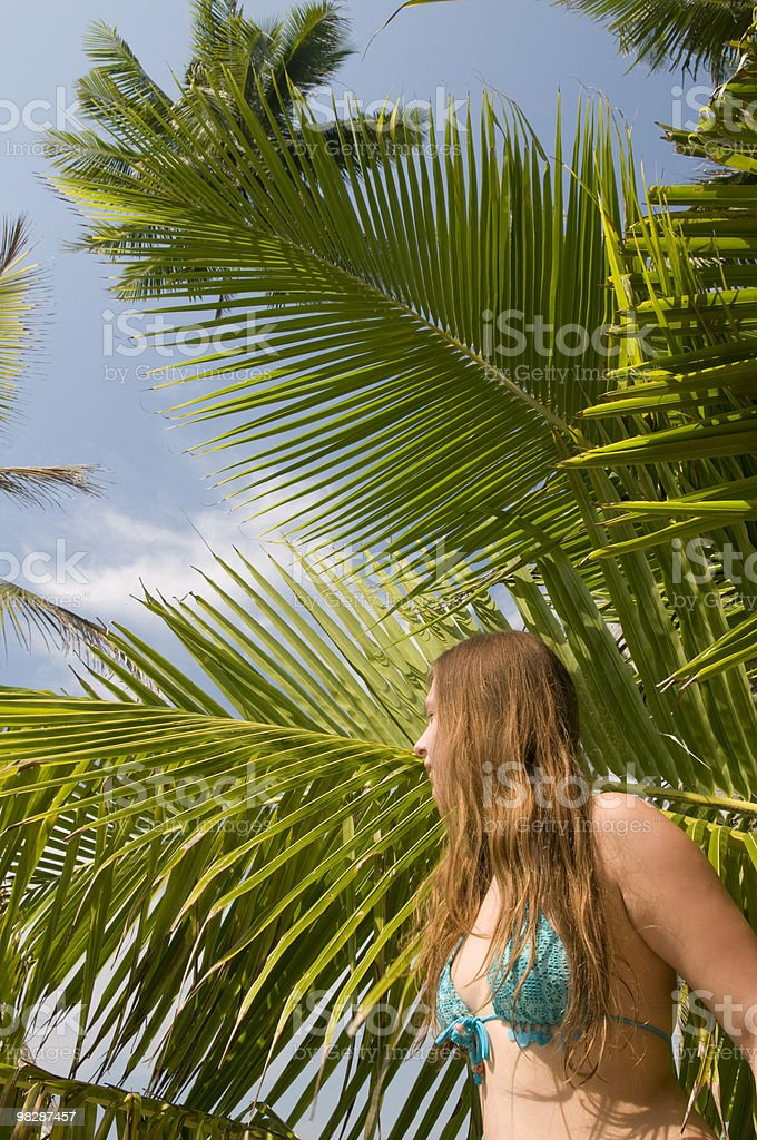 Woman on exotic beach. royalty-free stock photo