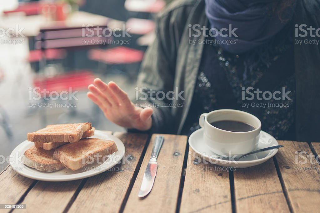 Woman on gluten free diet stock photo