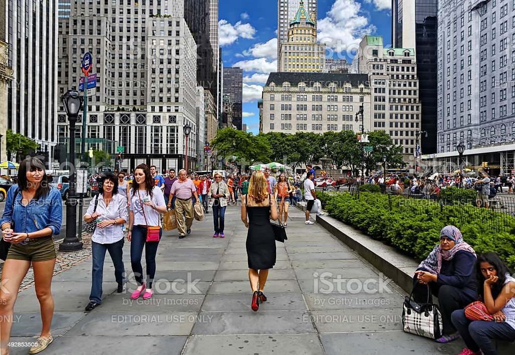 Woman on Grand Army Plaza stock photo
