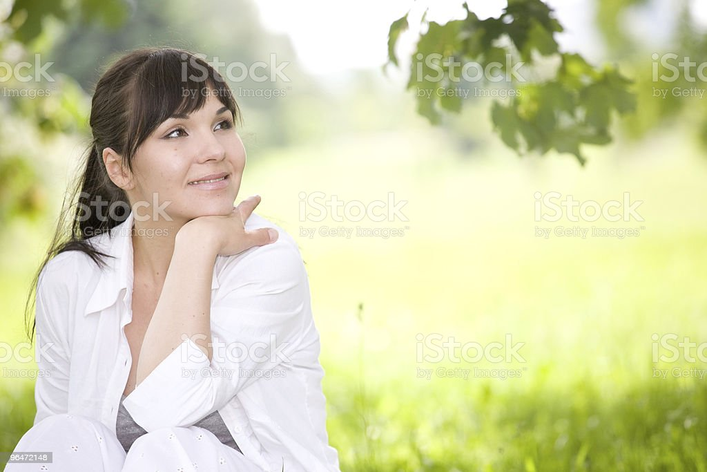 woman  on grass royalty-free stock photo