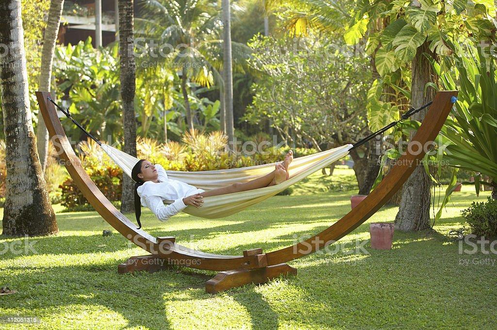 Woman on hammock. royalty-free stock photo