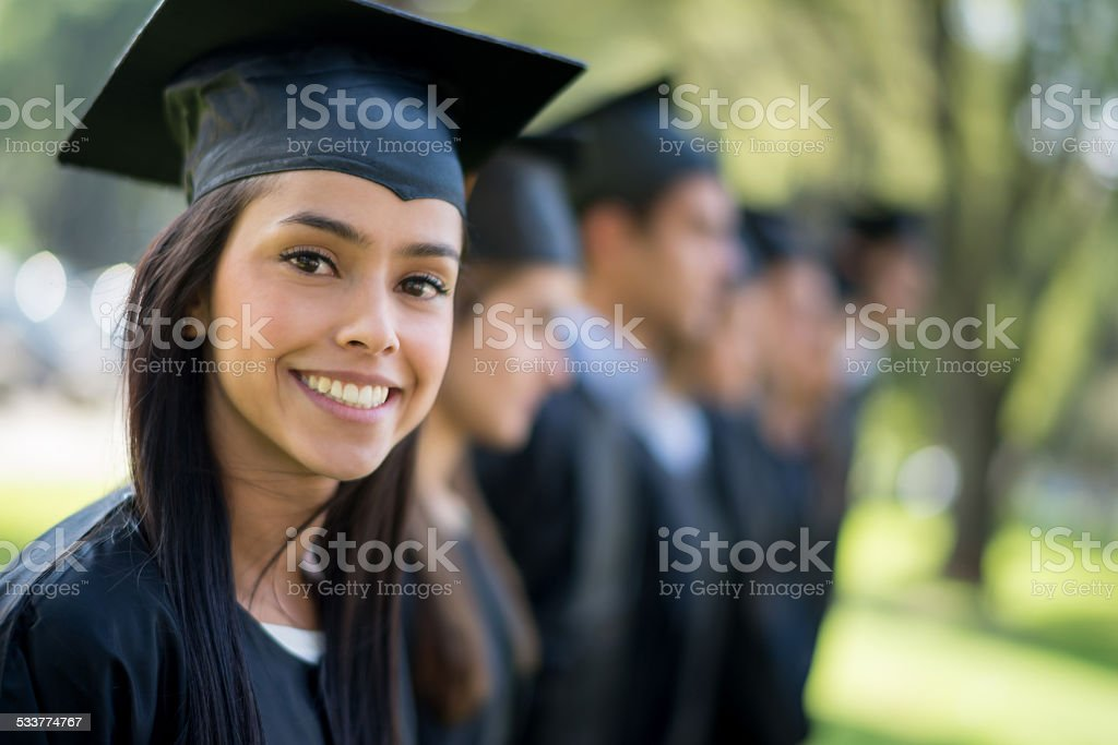 Woman on her graduation day stock photo