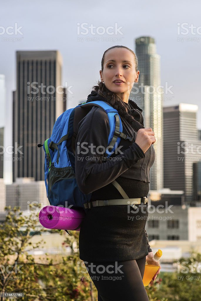 Woman on hiking royalty-free stock photo