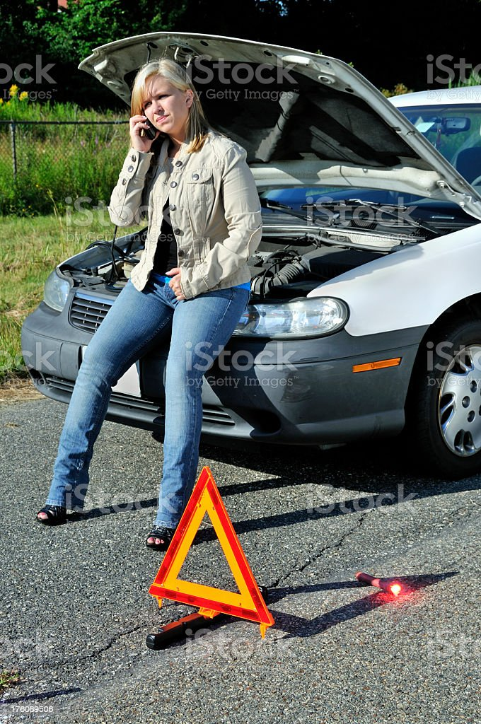 Woman On Hold with Towing Company royalty-free stock photo