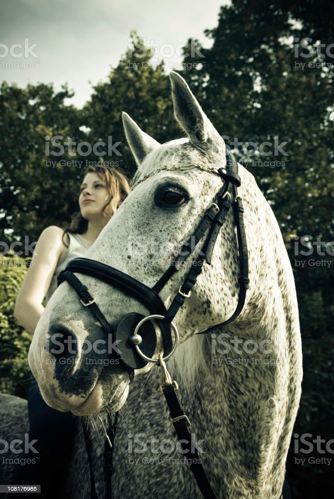 Woman on Horse royalty-free stock photo