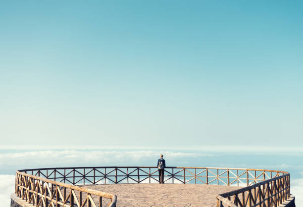 Woman On Madeira Island Enjoying The View stock photo