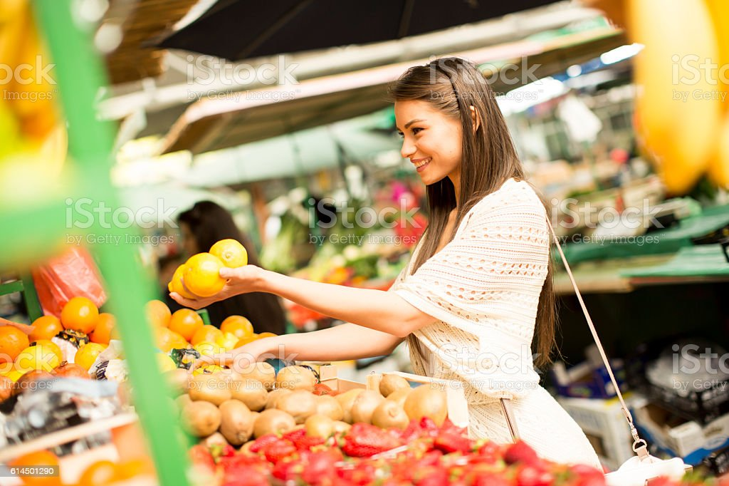 Woman on market stock photo