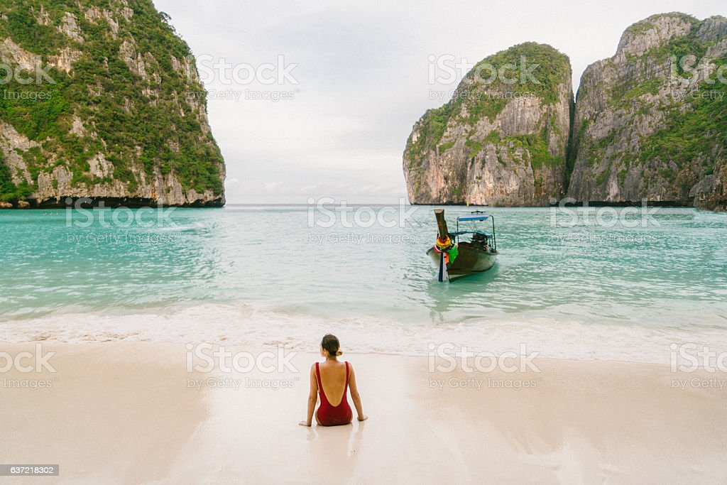 Woman on Maya Bay beach stock photo