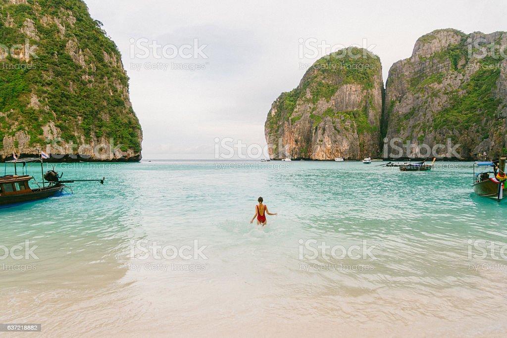 Woman on Maya Bay beach stock photo