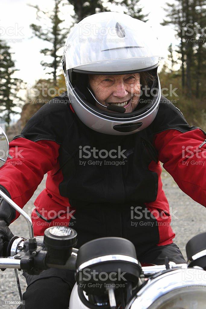 Woman on motorcycle stock photo