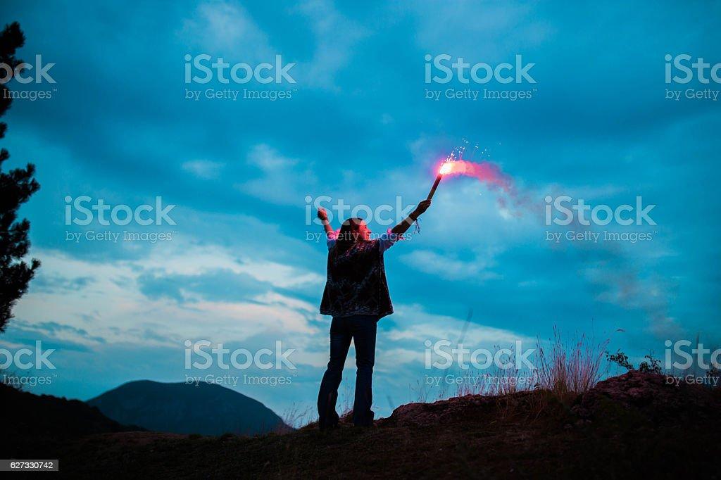 Woman on mountain stock photo