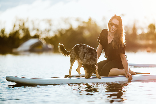 Woman On Paddleboard With Pet Dog