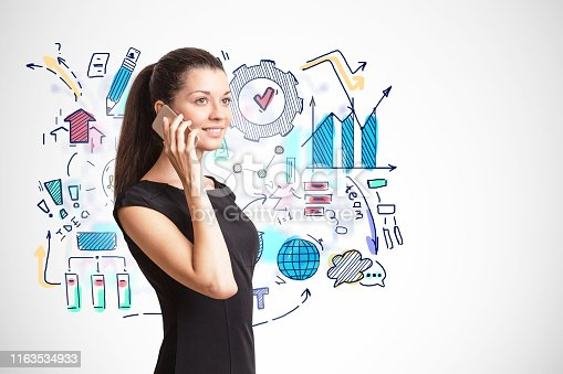 895493084 istock photo Woman on phone, business plan sketch 1163534933