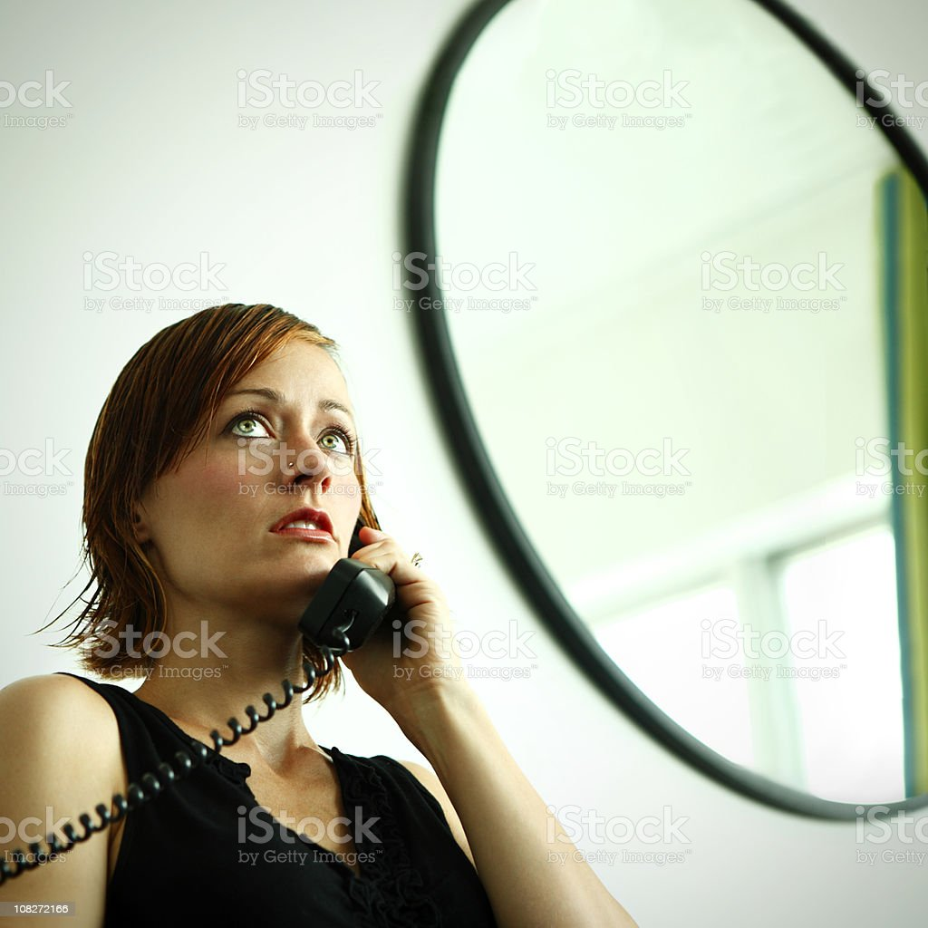 Woman on Retro Telephone royalty-free stock photo