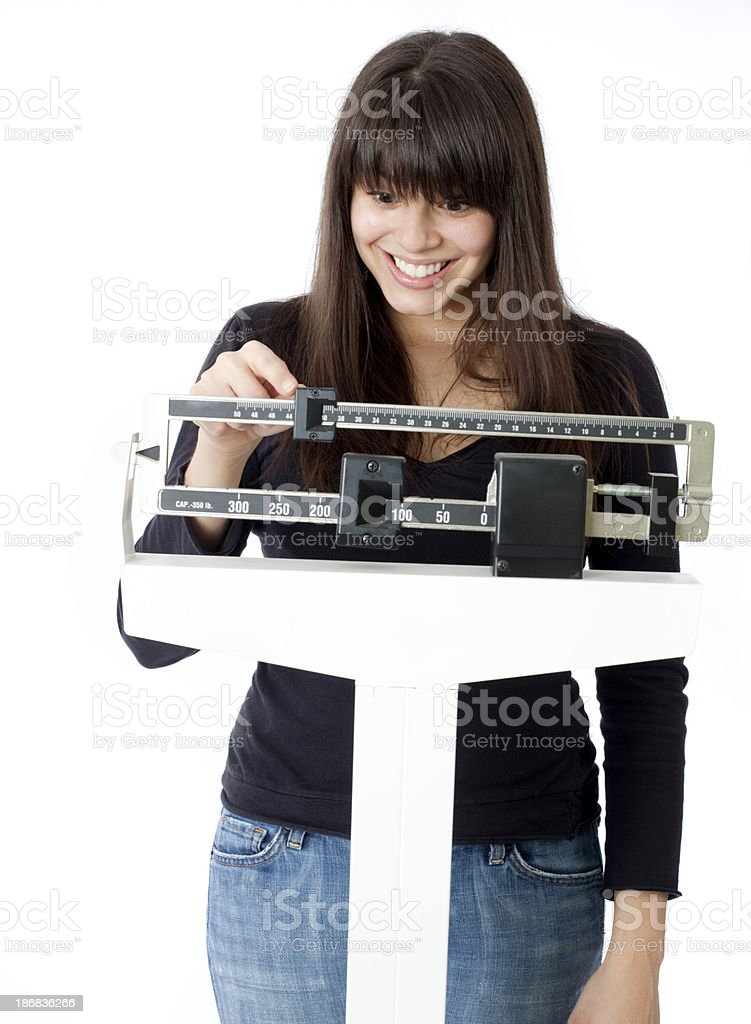 Woman on Scale royalty-free stock photo